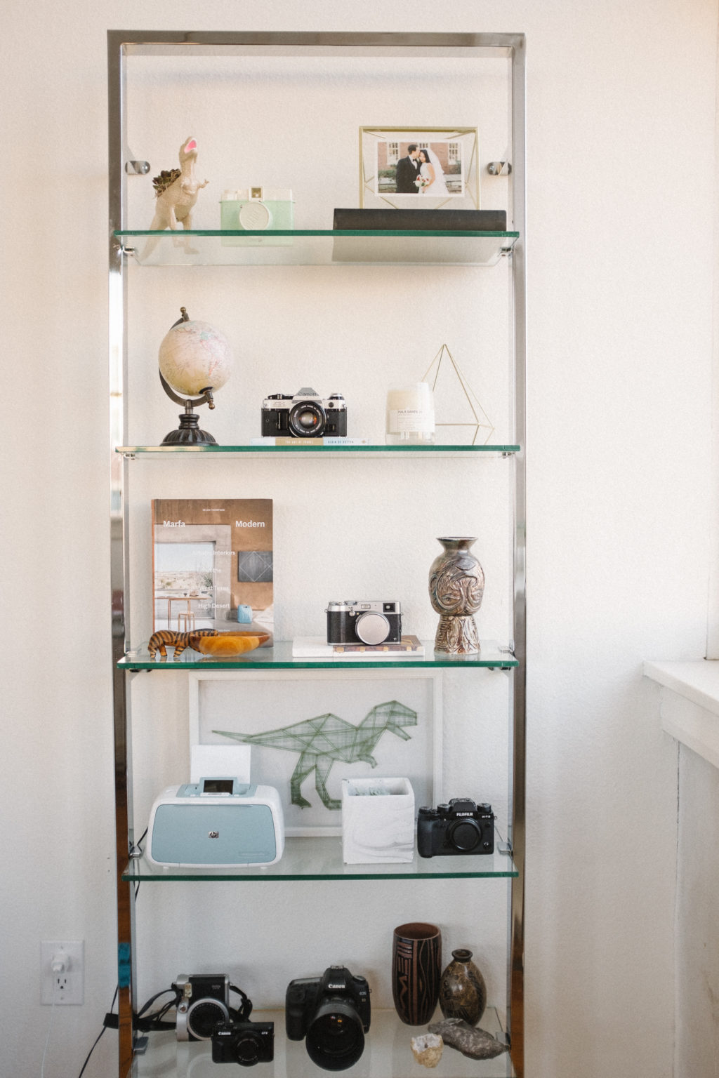 Bookshelf Styling with Vintage Cameras